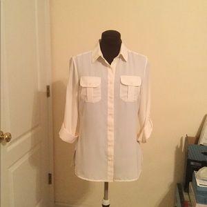 Cream Long Sleeve Button Down shirt